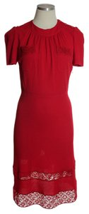 Louis Vuitton short dress Red Lace Trim Short Sleeve on Tradesy