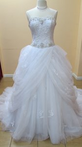 Alfred Angelo White/Silver Beadedl Lace 254 Modern Wedding Dress Size 10 (M)