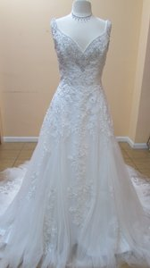 Alfred Angelo Ivory/Silver Beaded Lace 255 Modern Wedding Dress Size 12 (L)