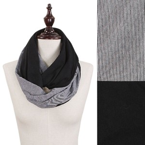 Black Solid & Stripe Double Sided Jersey Infinity Scarf