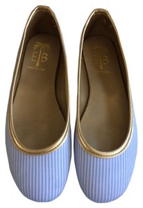 Eliza B Blue and White striped Flats
