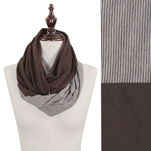 Brown Solid & Stripe Double Sided Jersey Infinity Scarf