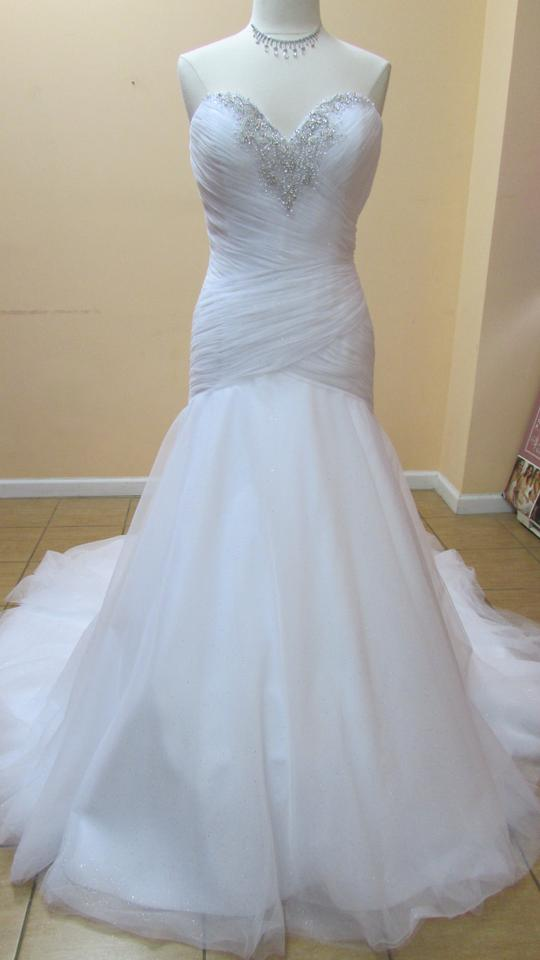 Alfred Angelo White/Silver Tulle 261a Modern Wedding Dress Size 12 ...