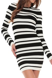 Torn by Ronny Kobo short dress Black / White Striped Bodycon Stretchy Longsleeve Textured on Tradesy