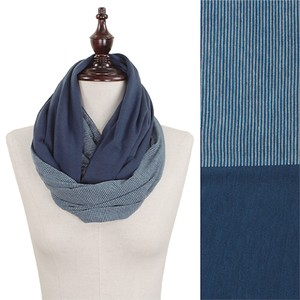 Other Navy Solid & Stripe Double Sided Jersey Infinity Scarf