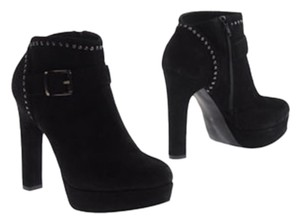 NaNa Stilleto Suede Leather Ankle Studded Studded Blac Boots