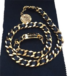 Chanel Chanel Vintage Gold Tone Black Leather Signature Medallion Belt
