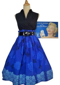 Other Vintage Vintage Rockabilly Hawaiian Full Skirt Blue, Black, White