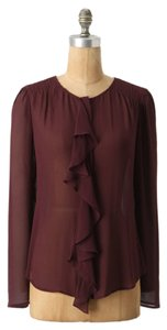 Anthropologie Cascade Range Silk Top Burgundy