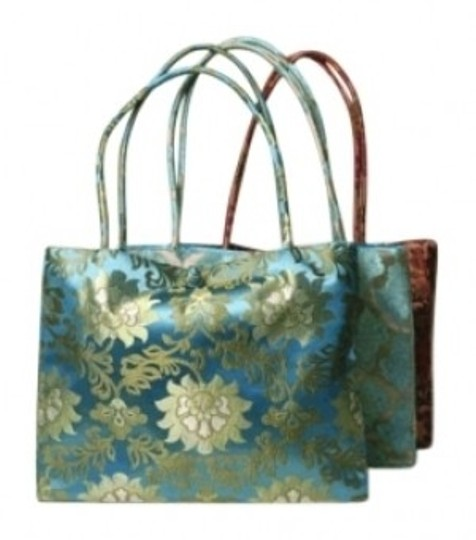 Forgotten Shanghai Silk Asian Unique Tote in Turquoise