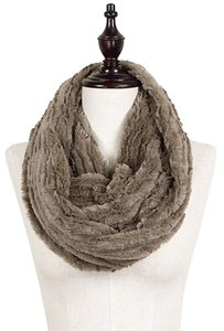 Other Lux Solid Beige Faux Fur Infinity Scarf