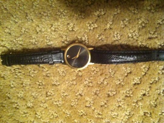 Movado Movado Women's Museum Goldplated Steel Case Black Leather Strap Watch