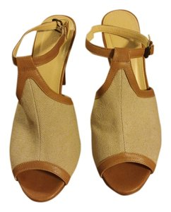J.Crew Strappy Italian High-heeled Linen Slingback brown Sandals