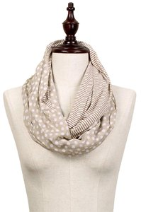 Other Beige Polka Dot & Stripe Pattern Infinity Scarf