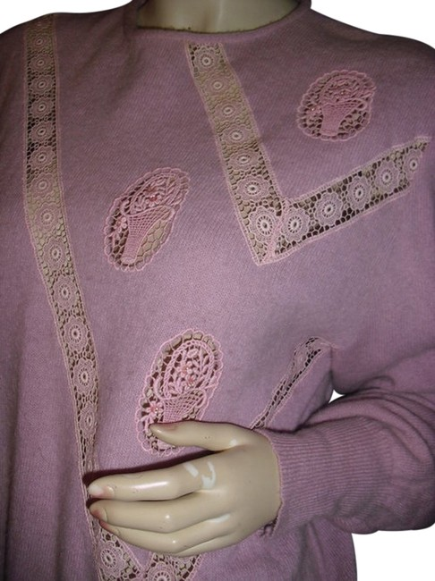 Preload https://item1.tradesy.com/images/baby-pink-made-unique-wool-mauve-crochet-lace-fashionista-style-boutique-sweaterpullover-size-12-l-11994085-0-1.jpg?width=400&height=650