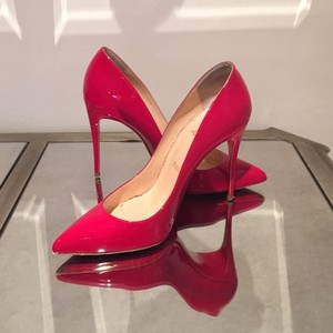 Christian Louboutin Leather Pointed Toe Night Out Date Night Red Pumps