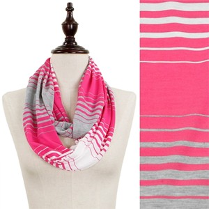 Other Fuchsia, Grey, White Tri-Color Stripe Jersey Infinity Scarf