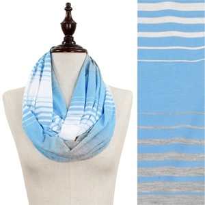 Other Blue, Grey, White Tri-Color Stripe Jersey Infinity Scarf