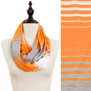 Other Orange, Grey, White Tri-Color Stripe Jersey Infinity Scarf