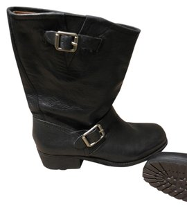Lucky Brand Leather Motorcylce Boot Black Boots