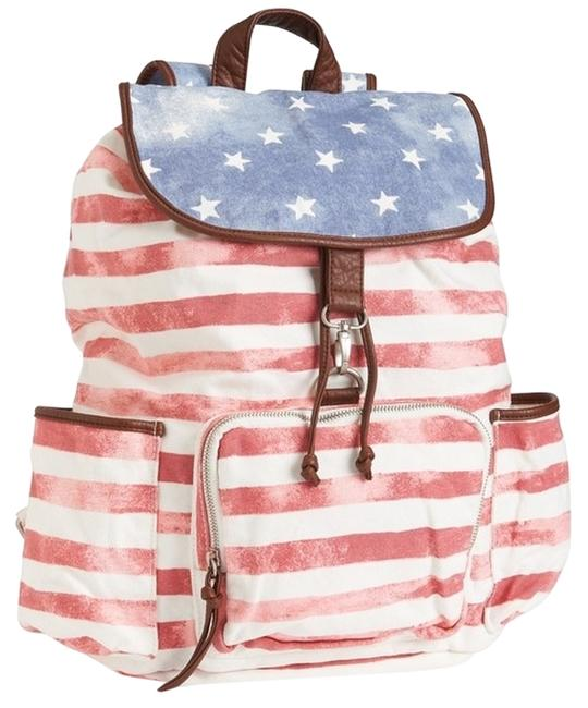 Item - American Flag Print Red White Blue Cotton Backpack