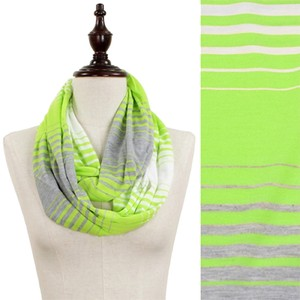 Green, Grey, White Tri-Color Stripe Jersey Infinity Scarf