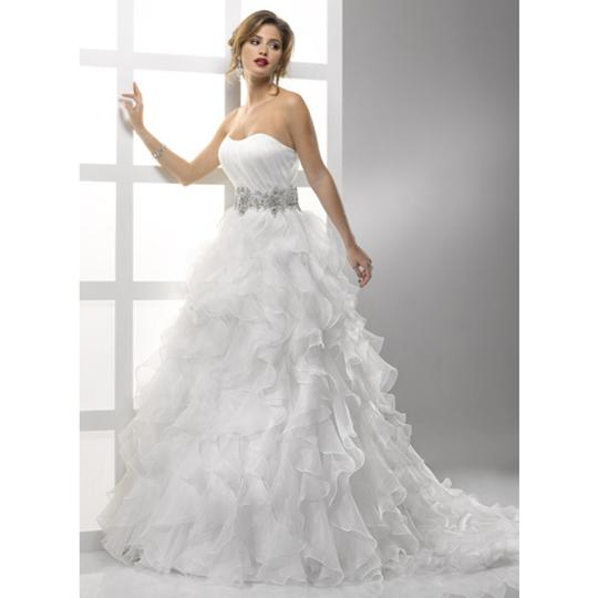 Sottero and Midgley White Organza Jadyn Modern Wedding Dress Size 8 (M)