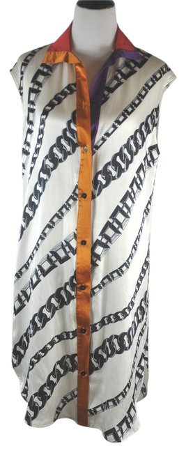 Item - Multi Color Chain Print Silk Sleeveless Tunic Above Knee Short Casual Dress Size 12 (L)