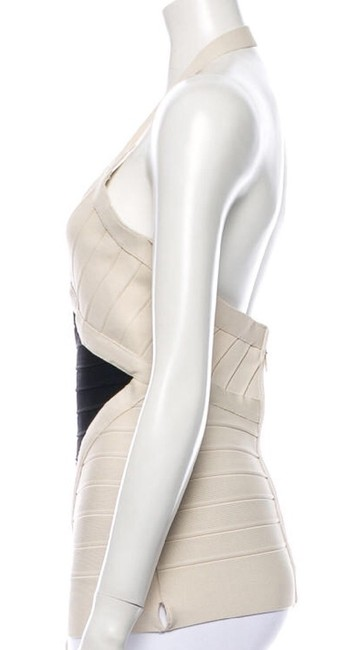 Hervé Leger Cream/black Halter Top