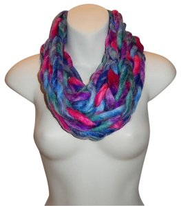 Purple, Royal Blue Chunky Chain Link Knit Infinity Scarf