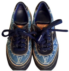Louis Vuitton Kids/ Toddlers Authentic LV Sneakers Denim Suede Sneakers Blue Athletic