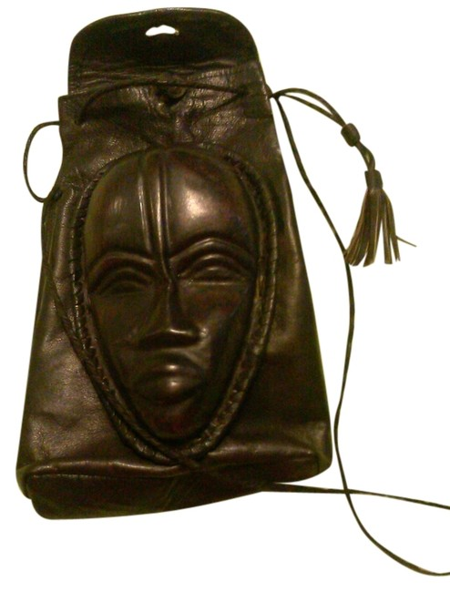 Item - African Handmade Drawstring Pouch Purse Brown Leather Shoulder Bag