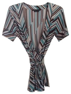 BCBGMAXAZRIA Top Aqua turquoise brown multi