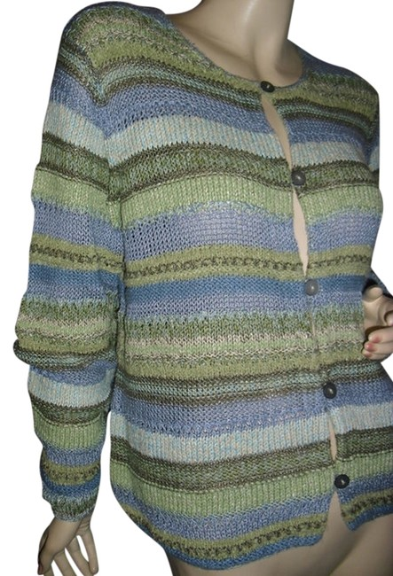 Preload https://item4.tradesy.com/images/sigrid-olsen-blue-and-green-cardigan-art-to-wear-large-stripe-knit-fashionista-style-boutique-sweate-11995123-0-1.jpg?width=400&height=650