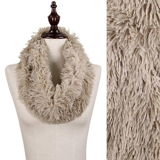 Boutique Fluffy Shaggy Taupe Faux Fur Infinity Scarf