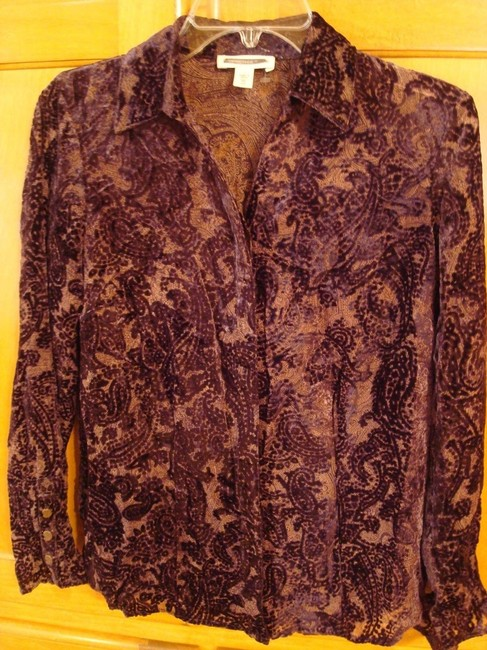 Coldwater Creek Button Down Shirt DARK MAROON VELVET