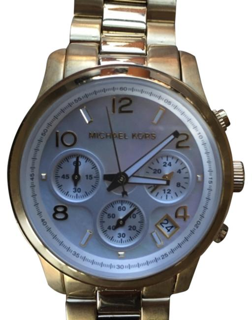 Item - Mother Of Pearl/Gold 'runway' Chronograph Watch Style 5305