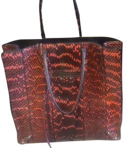 Balenciaga Tote in Snakeskin Faded Black And Coral