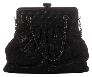 Chanel Ch.k0114.09 Quilted Framed Distressed Leather Satchel in Black