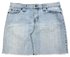The Limited Denim Lightwash Distressed Beach Mini Skirt Light Blue