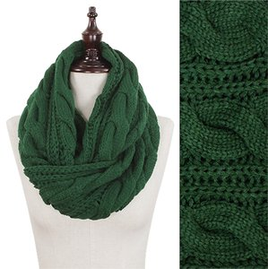 Green Chunky Solid Color Cable Knitted Infinity Scarf