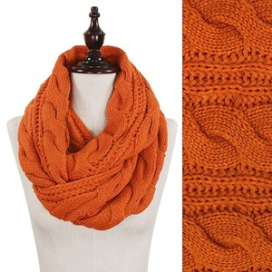 Orange Chunky Solid Color Cable Knitted Infinity Scarf