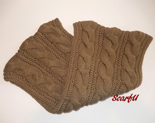 Boutique Taupe Chunky Solid Color Cable Knitted Infinity Scarf