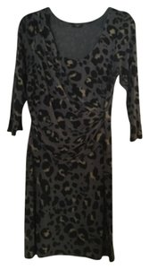 Ann Taylor Animal Print Leopard Wear To Work Ruched Dress