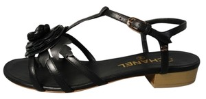 Chanel New Classic Style Walking Camellia Bow Black Sandals