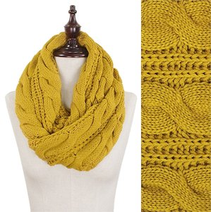 Other Mustard Chunky Solid Color Cable Knitted Infinity Scarf
