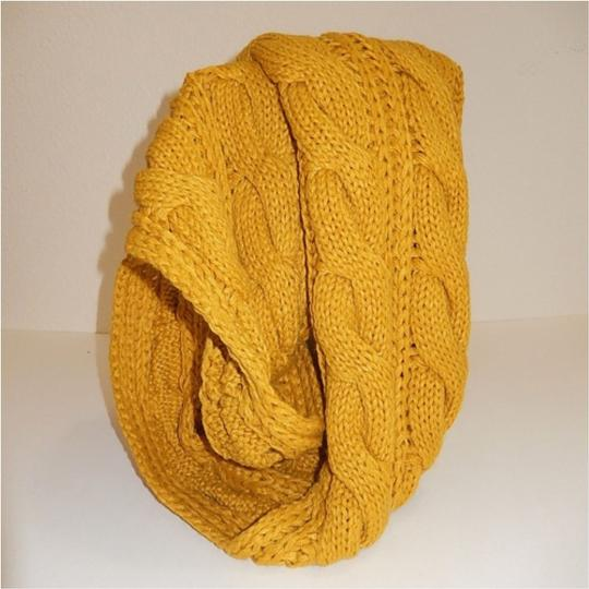 Boutique Mustard Chunky Solid Color Cable Knitted Infinity Scarf