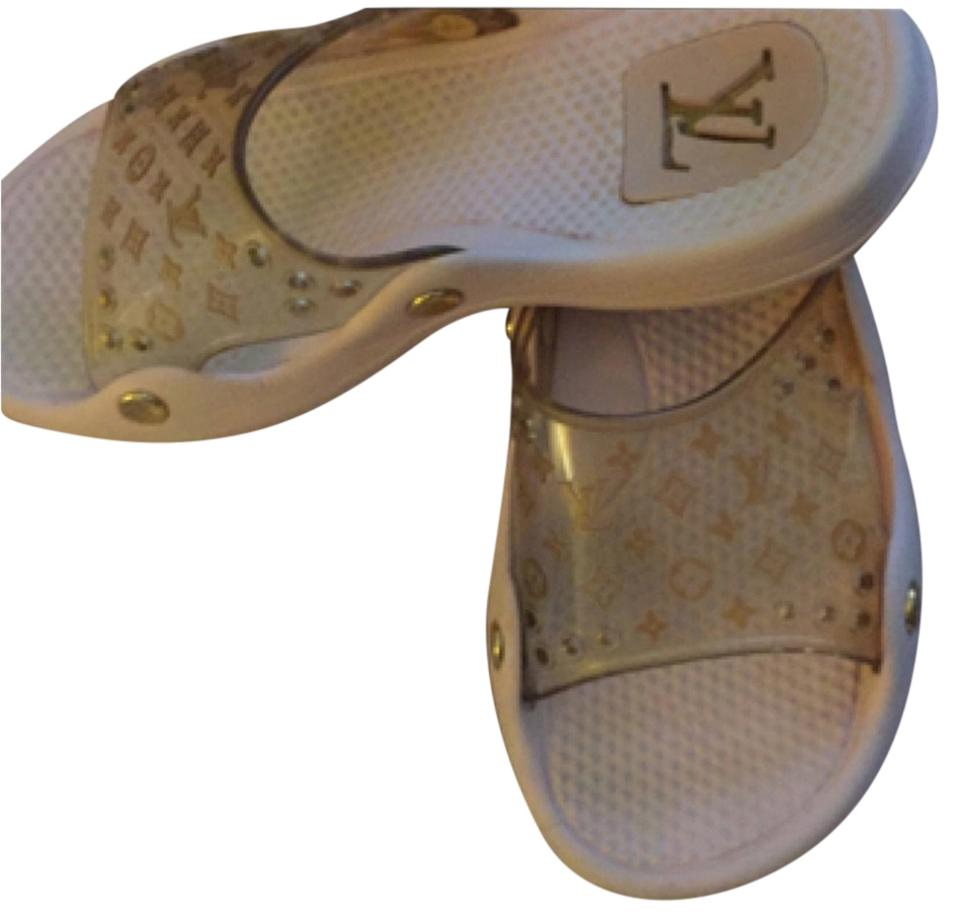 Louis Vuitton Light Pink Gold Metallic Lv Symbols Sandals Size Us 6