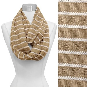 Other Wheat Stripe Pattern Lace Knitted Infinity Scarf