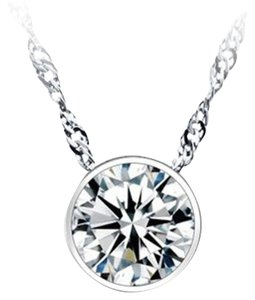 New 14K White Gold Filled Cubic Zirconia Pendant Necklace J1993